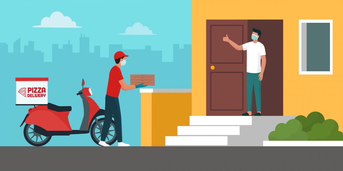 illustration of a pizza delivery person delivering pizza to a man at home. Both are wearing masks