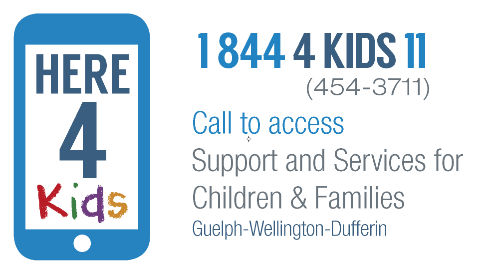 Here 4 Kids Logo, phone number and tagline.