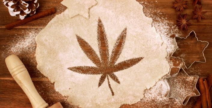 Dough cut in the shape of a cannabis leaf