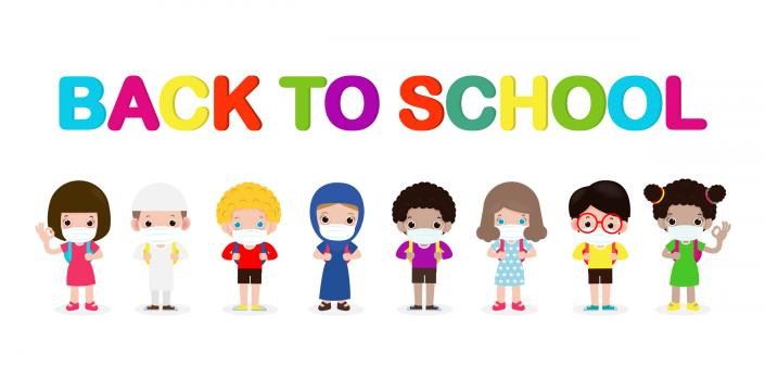 cartoon of kids wearing masks with back to school as a title, white background.