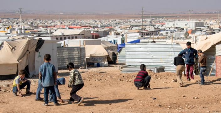 Syrian Children Playing in a Camp