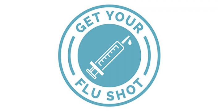 Syringe icon with the words Get Your Flu Shot in a circle around it