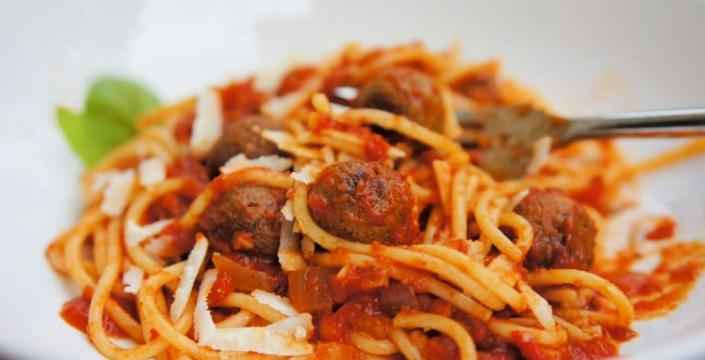 Spaghetti and meatballs made with edible insects