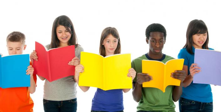 "Group of diverse youth reading ""report cards"""
