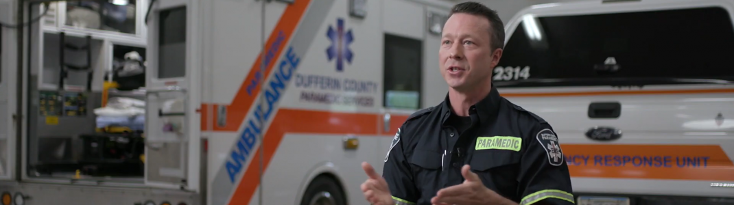 Screen shot from the video with Simeon Oullette, paramedic